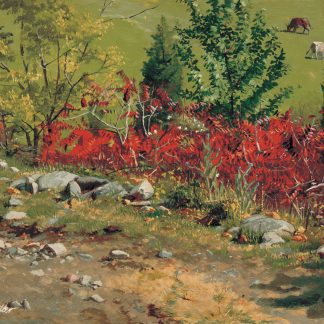 Red Foliage with Cows Grazing in Background, Morristown (Frank Waller)