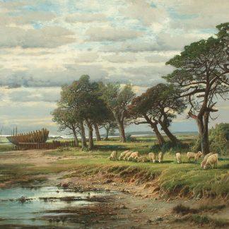 Sheep Grazing by a River Bank (Carl Philipp Weber)