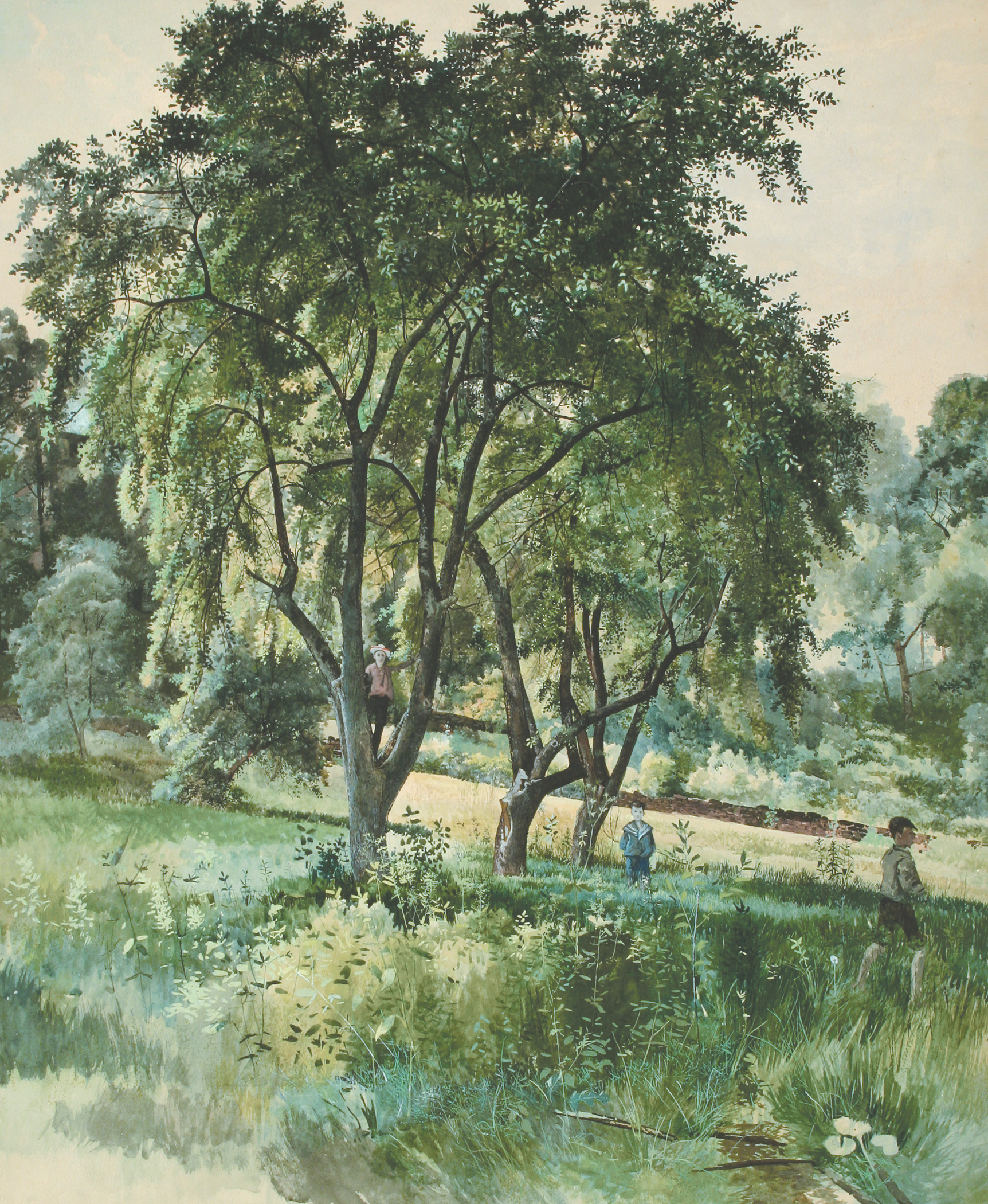Forest Interior with Henry, Lewis, and Robert Fussell (Charles Lewis Fussell)