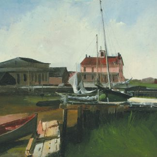 Boats at a River Pier (Charles Lewis Fussell)
