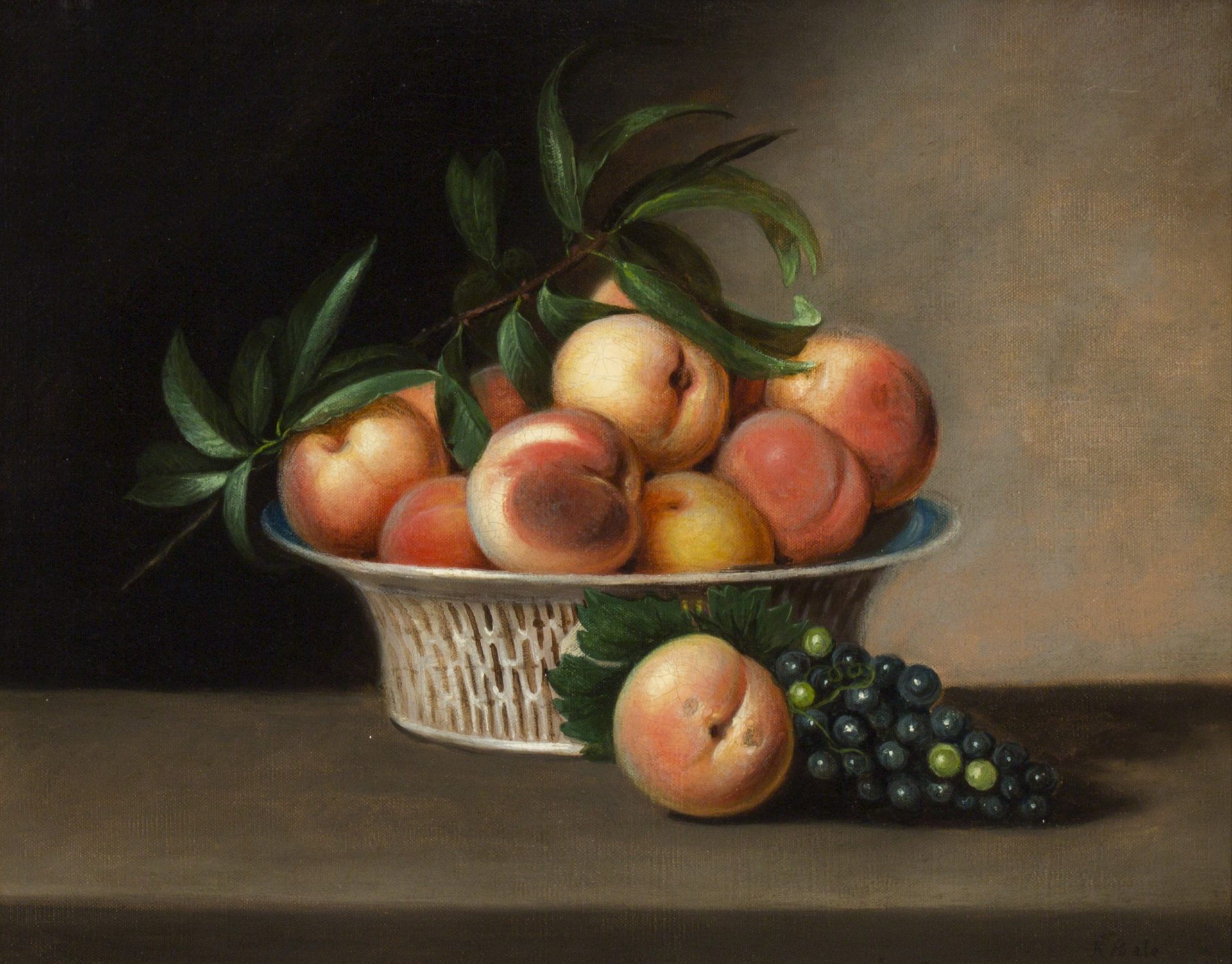 Fruit Still Life with Chinese Export Basket (Rubens Peale)