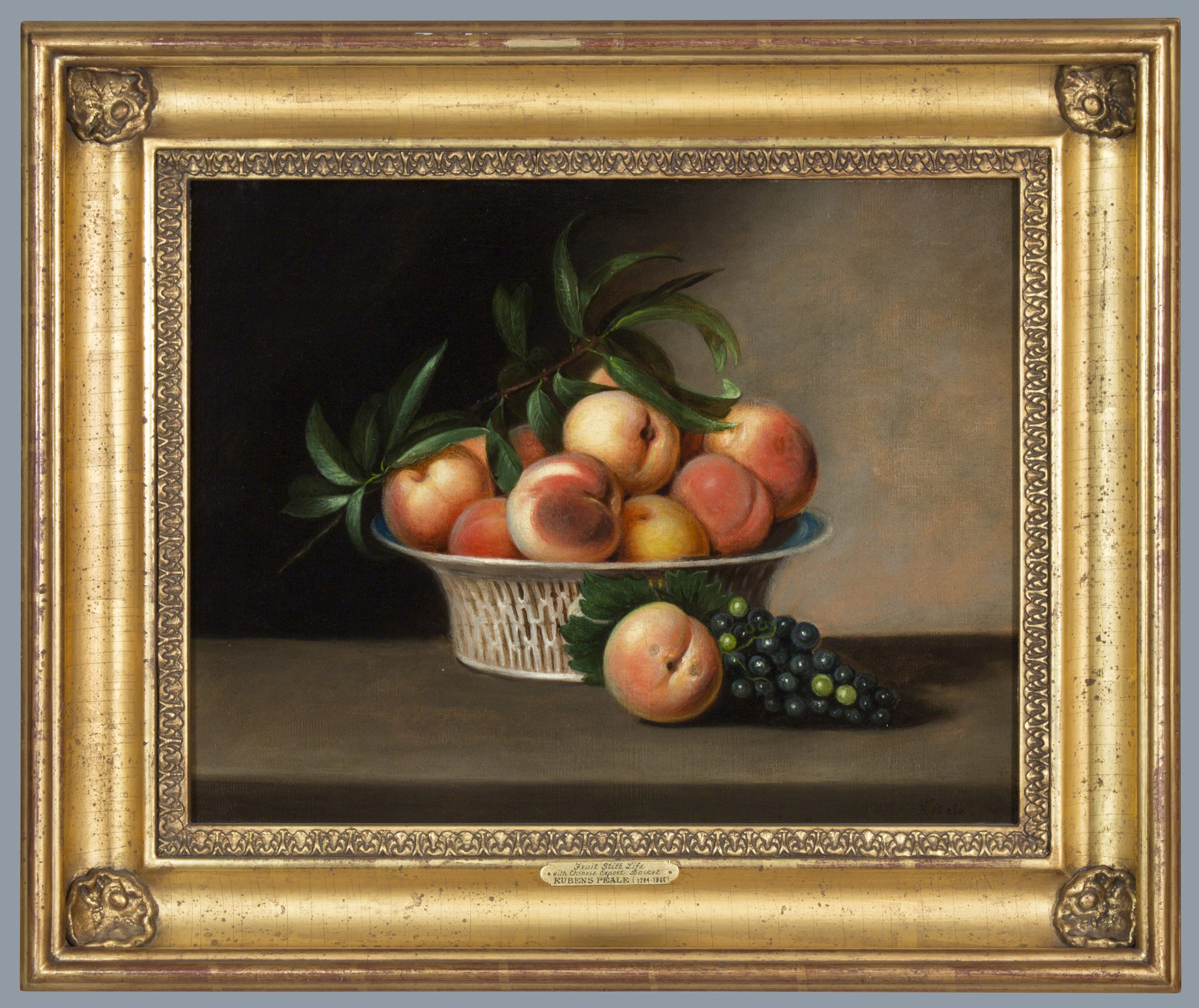 Fruit Still Life with Chinese Export Basket FRAMED (Rubens Peale)