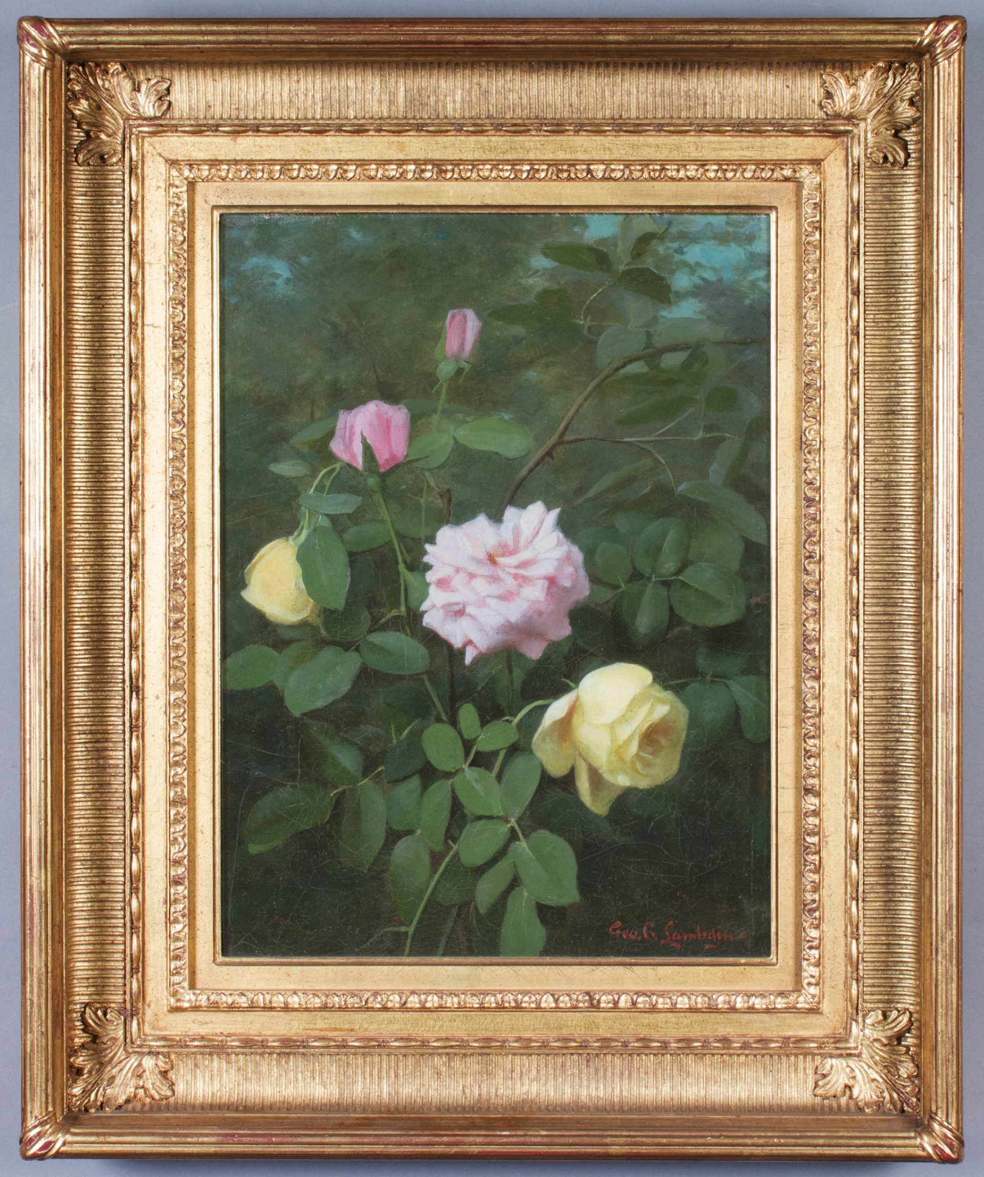 Yellow and Pink Roses FRAMED (George Cochran Lambdin)