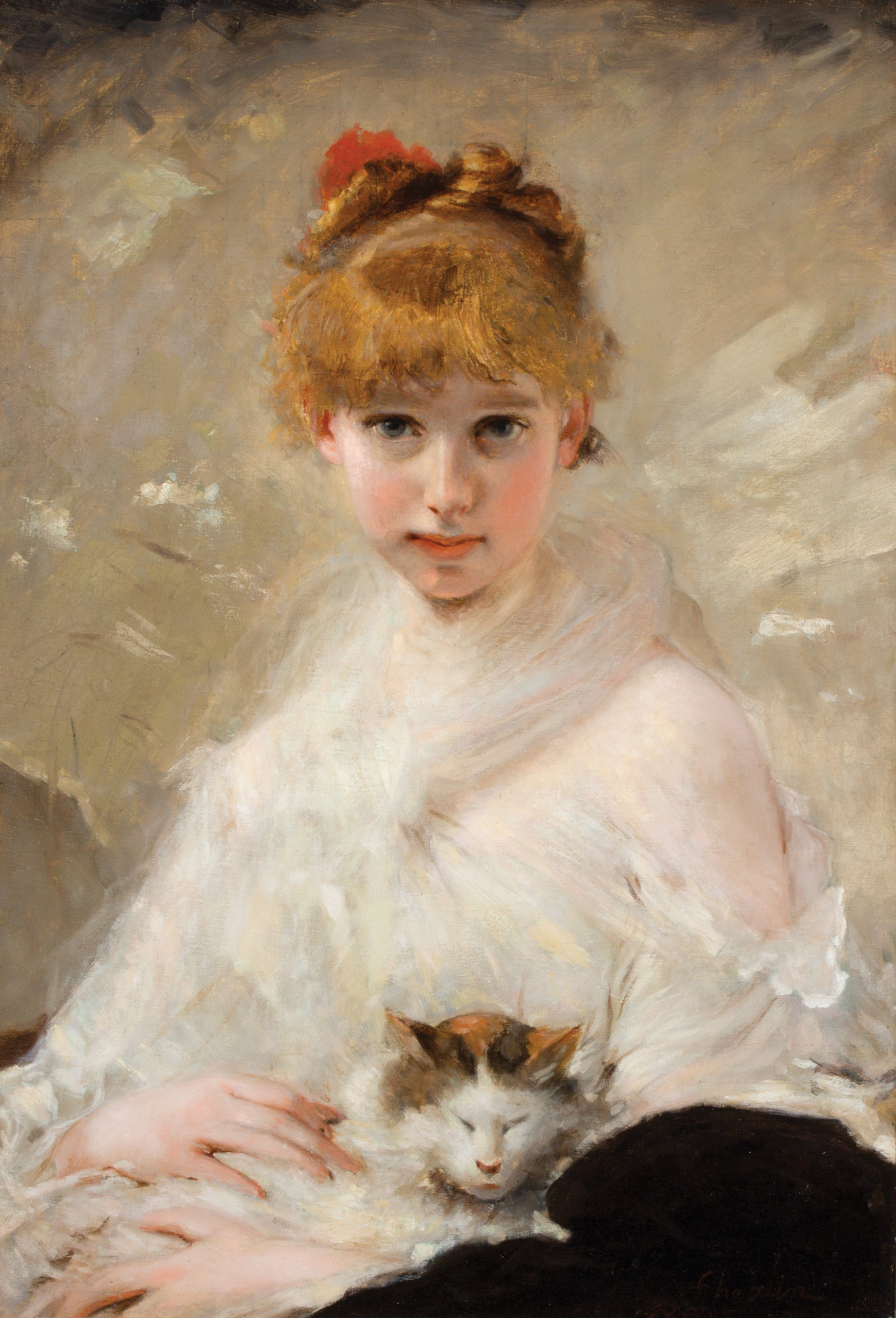 Young Girl with Her Cat (Charles Chaplin)
