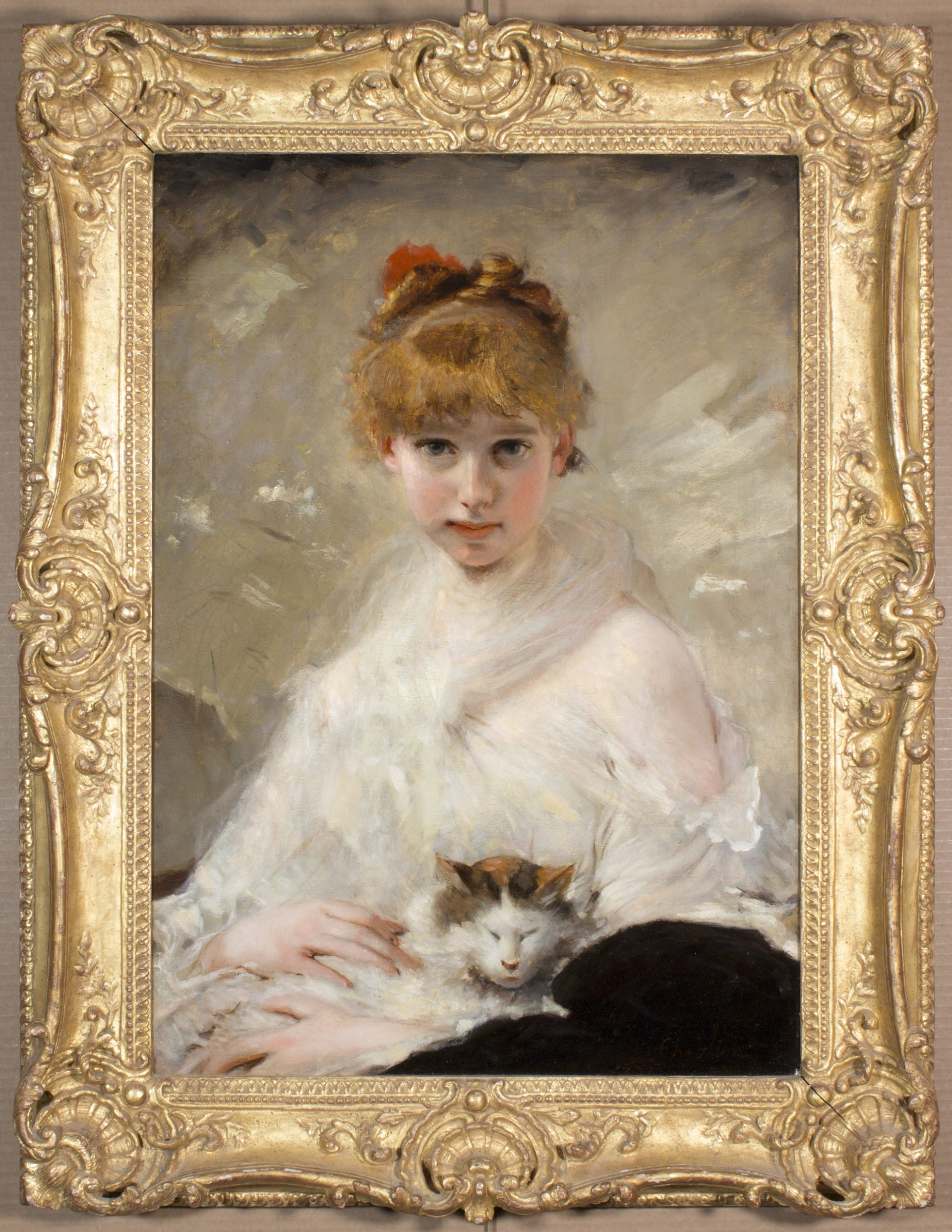 Young Girl with Her Cat FRAMED (Charles Chaplin)