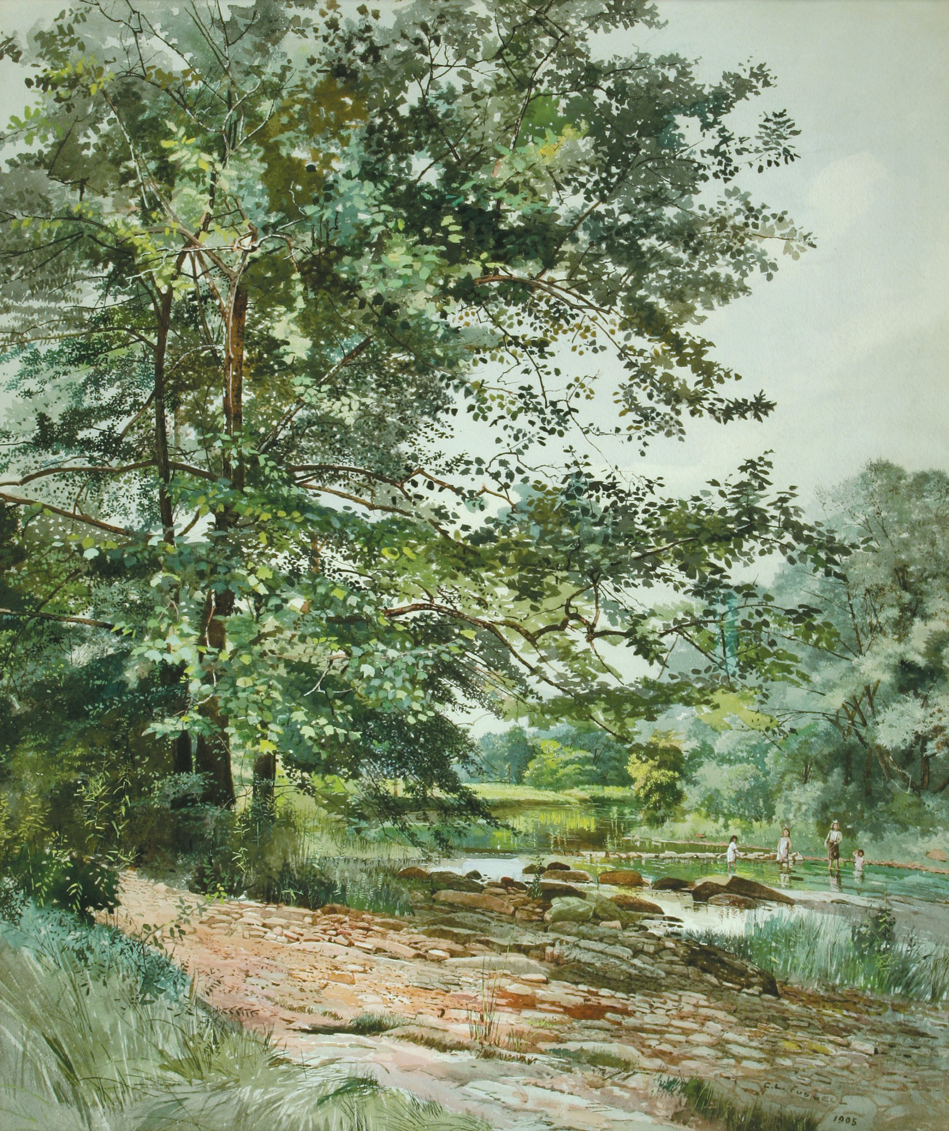 Children Wading in a Stream (Charles Lewis Fussell)