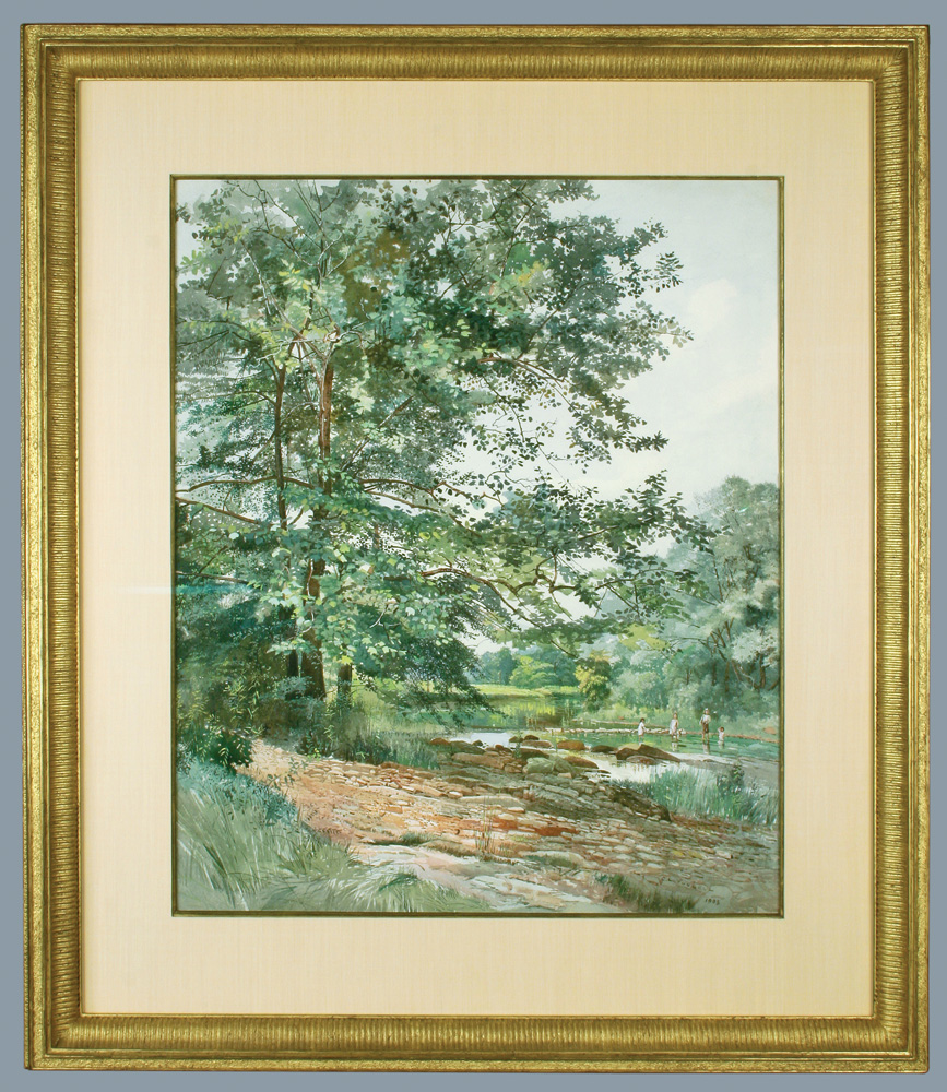 Children Wading in a Stream FRAMED (Charles Lewis Fussell)