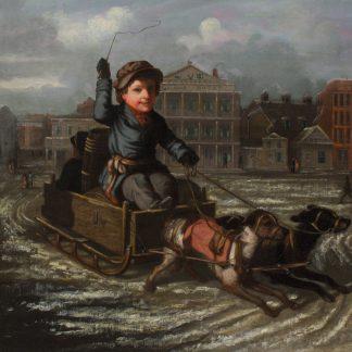 Boy in a Dog Sled, Detroit (Frederick E. Cohen)