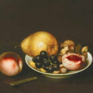 Pear, Black Grapes, Walnuts, Peach and Plate (John Durrie, Jr.)