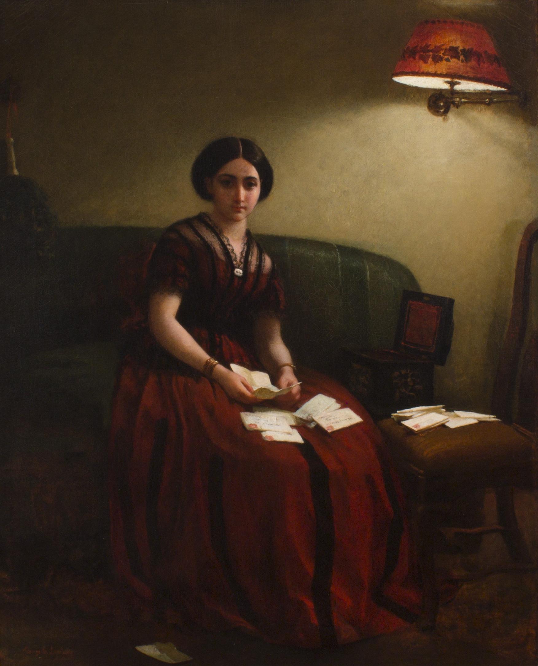 Woman on Sofa Reading Letters (George Cochran Lambdin)