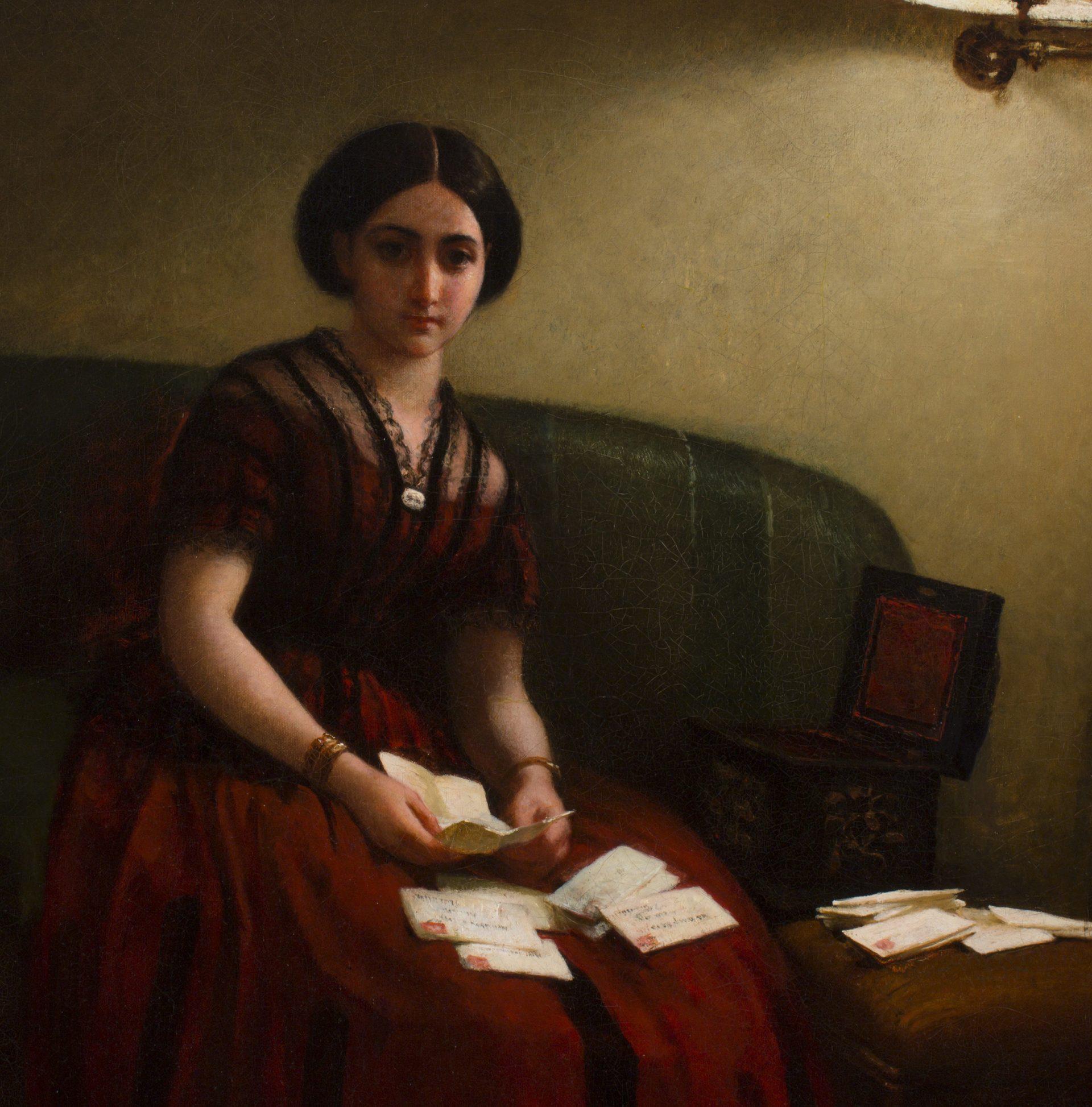 Woman on Sofa Reading Letters DETAIL (George Cochran Lambdin)