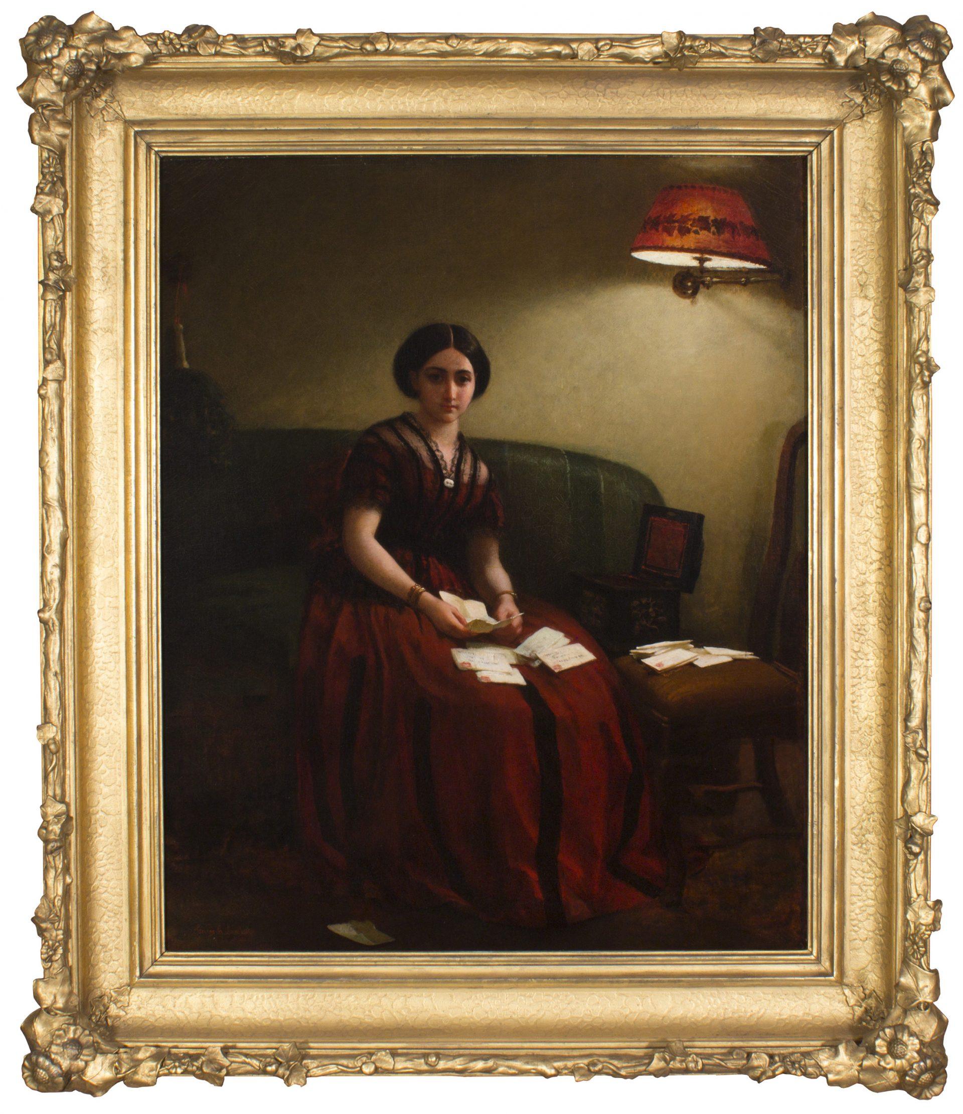 Woman on Sofa Reading Letters FRAMED (George Cochran Lambdin)